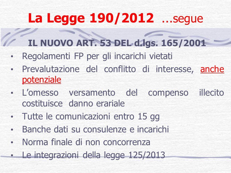 La Legge 190/2012 … segue IL NUOVO ART. 53 DEL d.lgs. 165/2001 Regolamenti FP per gli incarichi vietati Prevalutazione del conflitto di interesse, anc