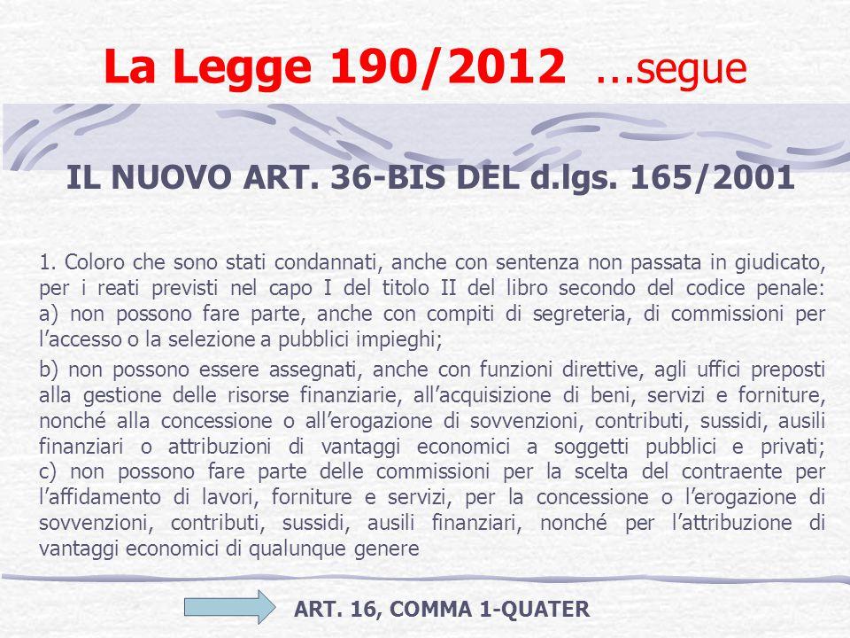 La Legge 190/2012 … segue IL NUOVO ART. 36-BIS DEL d.lgs. 165/2001 1. Coloro che sono stati condannati, anche con sentenza non passata in giudicato, p