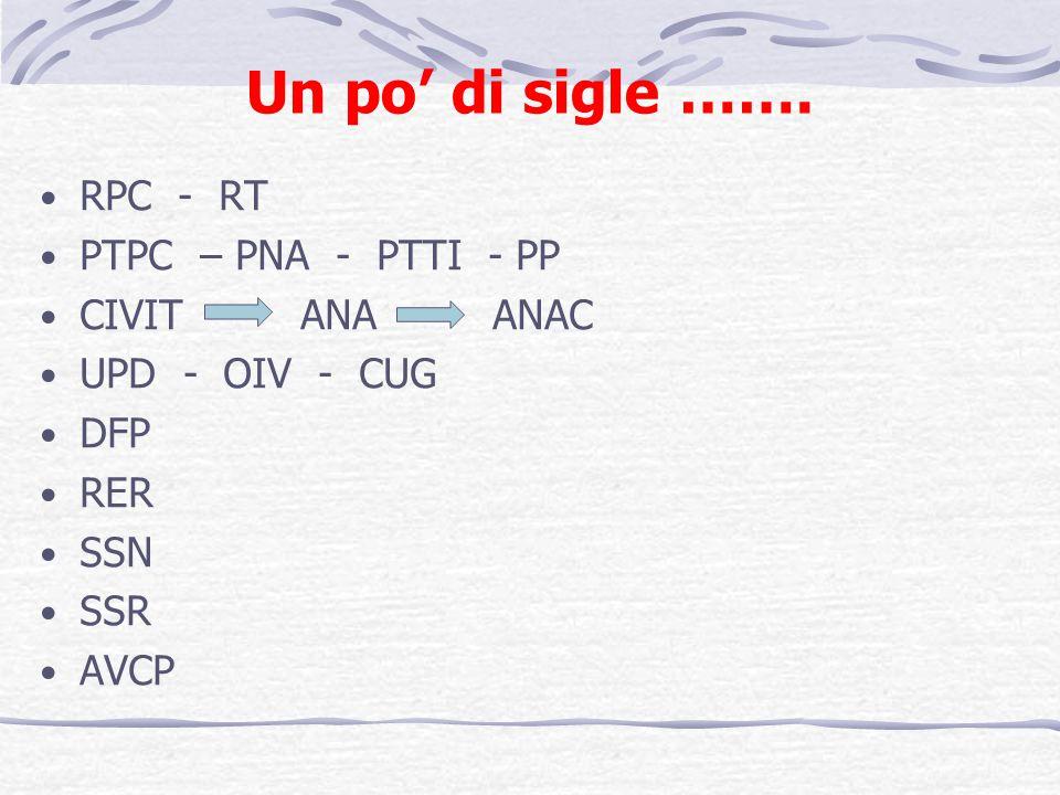 Un po di sigle ……. RPC - RT PTPC – PNA - PTTI - PP CIVIT ANA ANAC UPD - OIV - CUG DFP RER SSN SSR AVCP