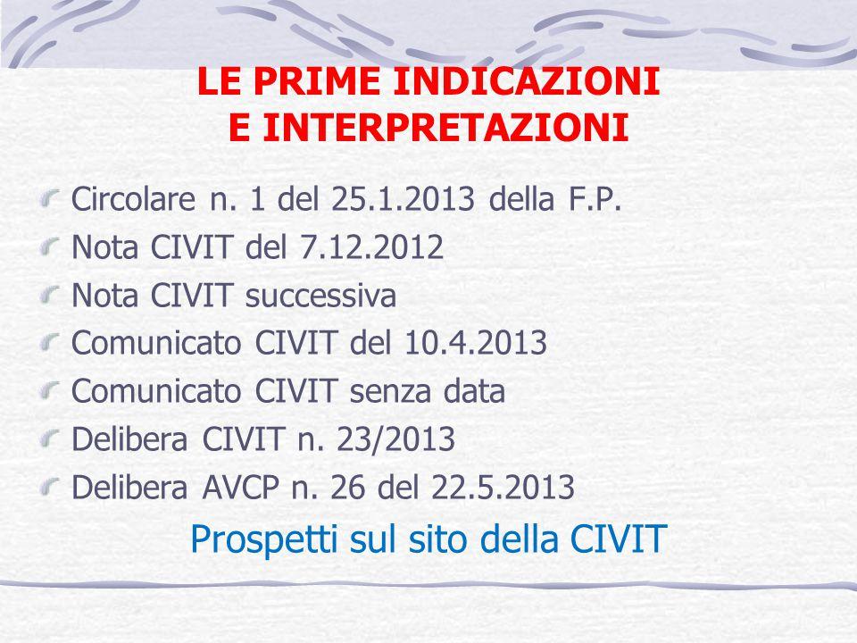 LE PRIME INDICAZIONI E INTERPRETAZIONI Circolare n. 1 del 25.1.2013 della F.P. Nota CIVIT del 7.12.2012 Nota CIVIT successiva Comunicato CIVIT del 10.