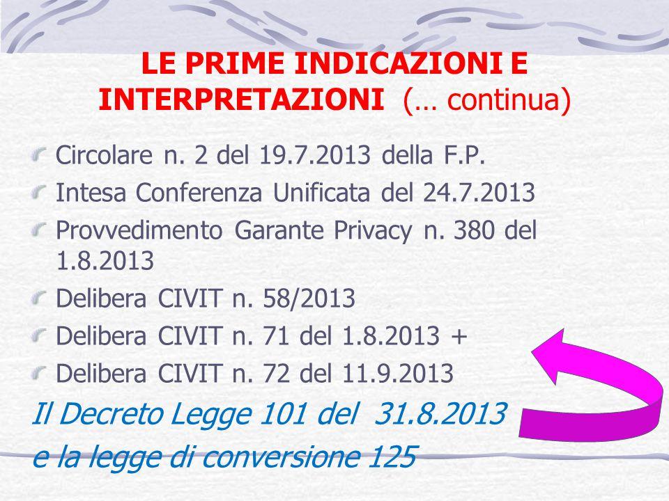 LE PRIME INDICAZIONI E INTERPRETAZIONI (… continua) Circolare n. 2 del 19.7.2013 della F.P. Intesa Conferenza Unificata del 24.7.2013 Provvedimento Ga