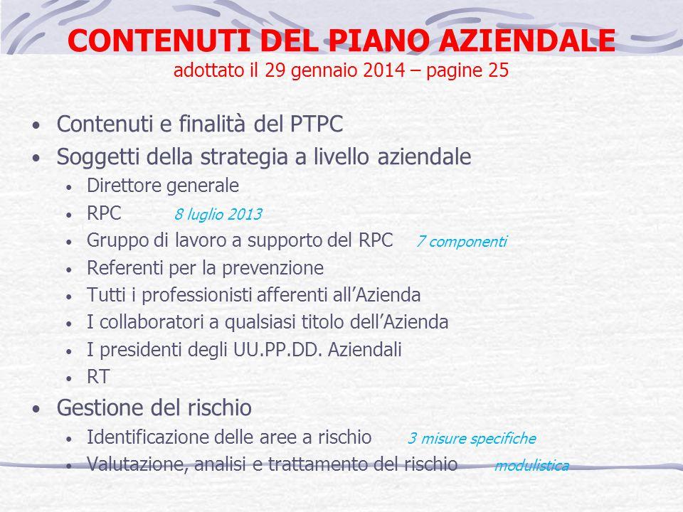 CONTENUTI DEL PIANO AZIENDALE adottato il 29 gennaio 2014 – pagine 25 Contenuti e finalità del PTPC Soggetti della strategia a livello aziendale Diret