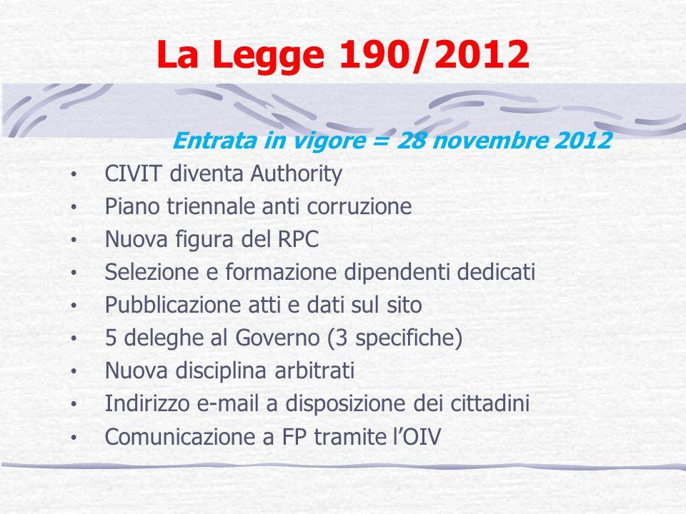 La Legge 190/2012 Entrata in vigore = 28 novembre 2012 CIVIT diventa Authority Piano triennale anti corruzione Nuova figura del RPC Selezione e formaz