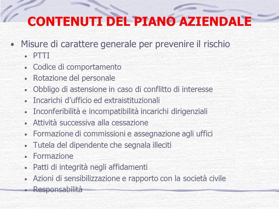 CONTENUTI DEL PIANO AZIENDALE Misure di carattere generale per prevenire il rischio PTTI Codice di comportamento Rotazione del personale Obbligo di as