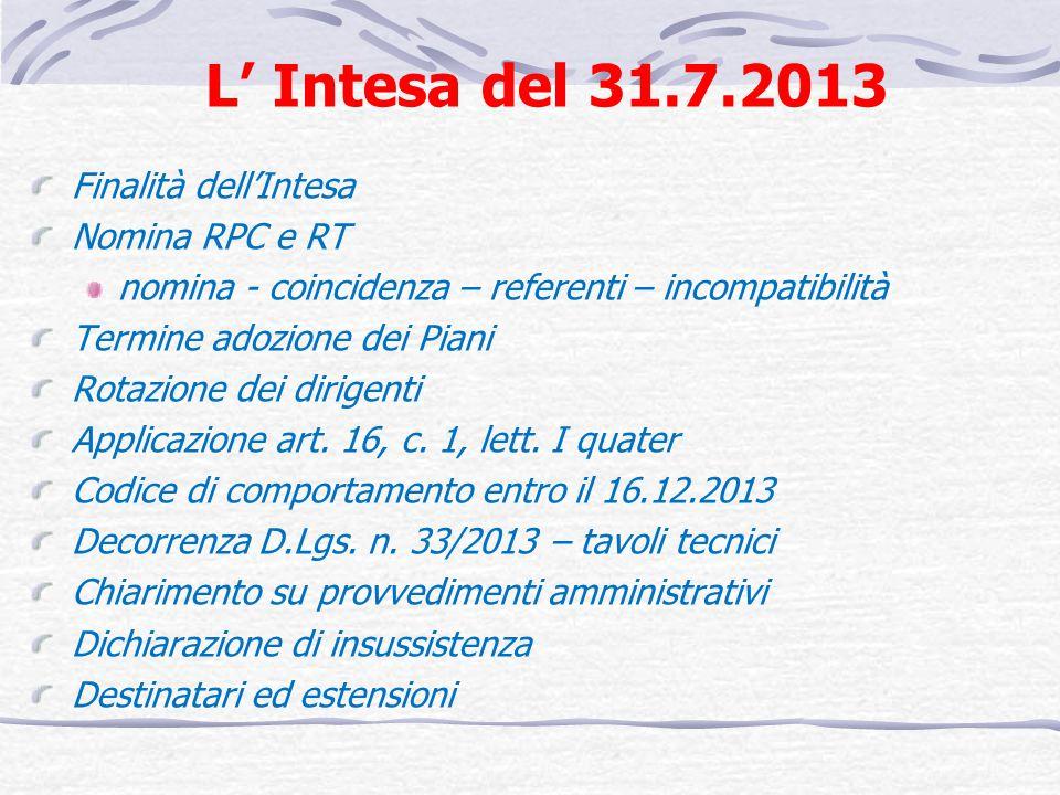 L Intesa del 31.7.2013 Finalità dellIntesa Nomina RPC e RT nomina - coincidenza – referenti – incompatibilità Termine adozione dei Piani Rotazione dei dirigenti Applicazione art.