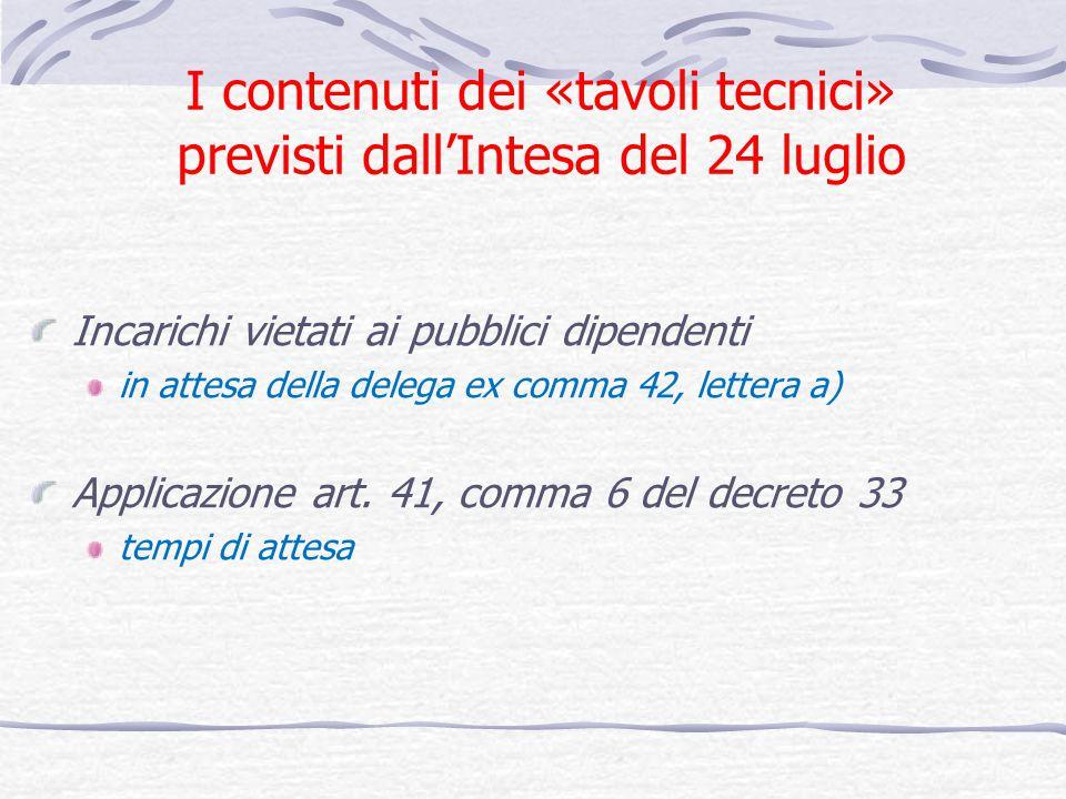 I contenuti dei «tavoli tecnici» previsti dallIntesa del 24 luglio Incarichi vietati ai pubblici dipendenti in attesa della delega ex comma 42, lettera a) Applicazione art.