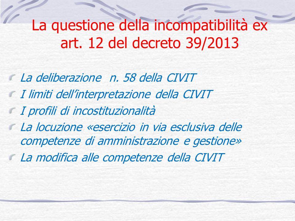 La questione della incompatibilità ex art. 12 del decreto 39/2013 La deliberazione n. 58 della CIVIT I limiti dellinterpretazione della CIVIT I profil