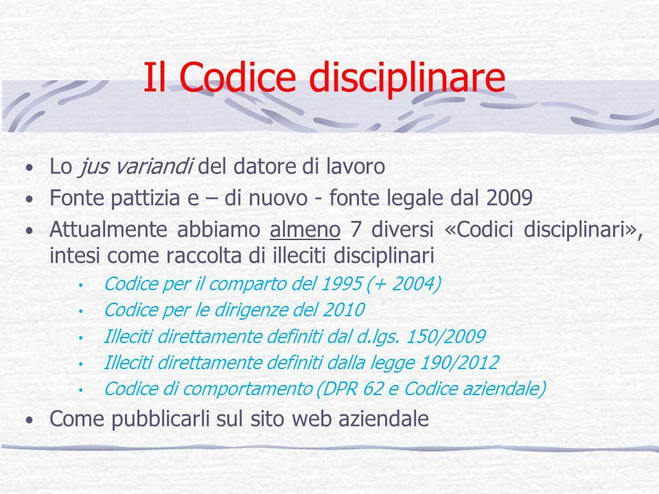 Il Codice disciplinare Lo jus variandi del datore di lavoro Fonte pattizia e – di nuovo - fonte legale dal 2009 Attualmente abbiamo almeno 7 diversi «