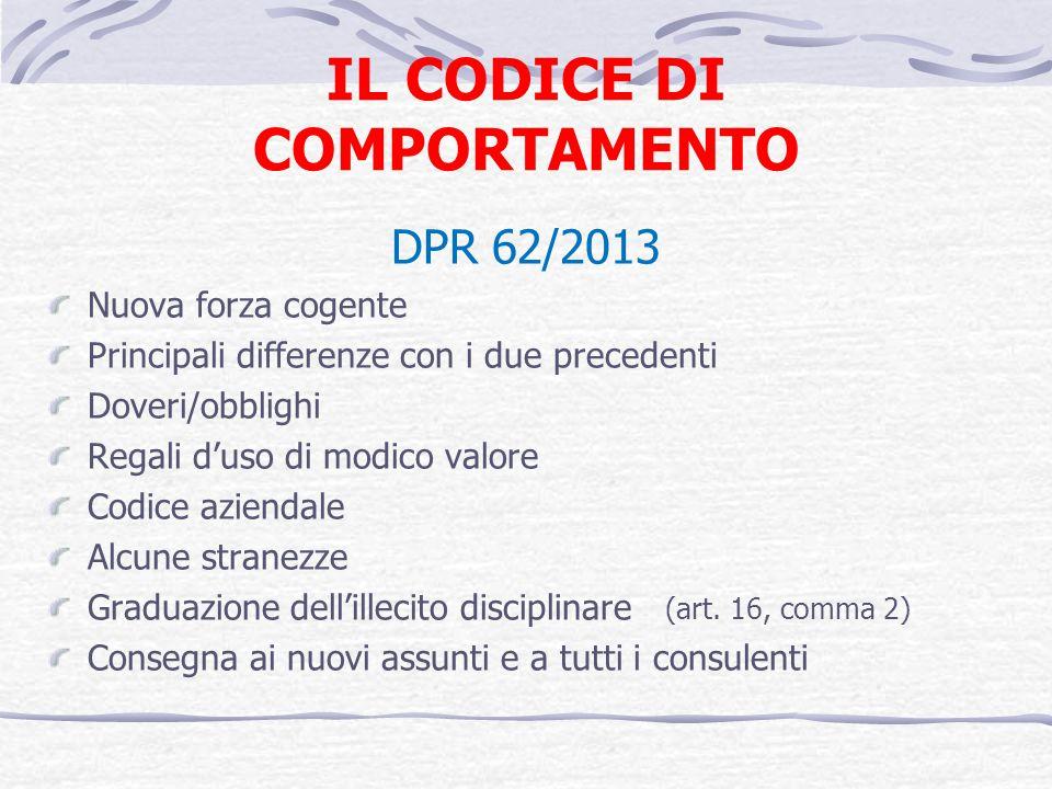 IL CODICE DI COMPORTAMENTO DPR 62/2013 Nuova forza cogente Principali differenze con i due precedenti Doveri/obblighi Regali duso di modico valore Cod