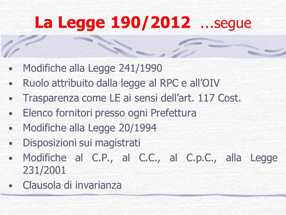 La Legge 190/2012 … segue Modifiche alla Legge 241/1990 Ruolo attribuito dalla legge al RPC e allOIV Trasparenza come LE ai sensi dellart. 117 Cost. E