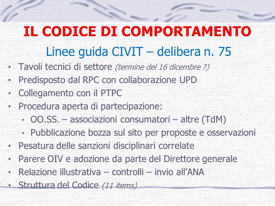 IL CODICE DI COMPORTAMENTO Linee guida CIVIT – delibera n. 75 Tavoli tecnici di settore (termine del 16 dicembre ?) Predisposto dal RPC con collaboraz