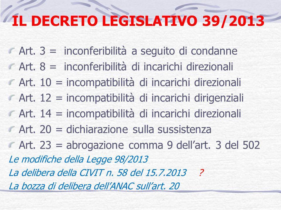 IL DECRETO LEGISLATIVO 39/2013 Art. 3 = inconferibilità a seguito di condanne Art. 8 = inconferibilità di incarichi direzionali Art. 10 = incompatibil