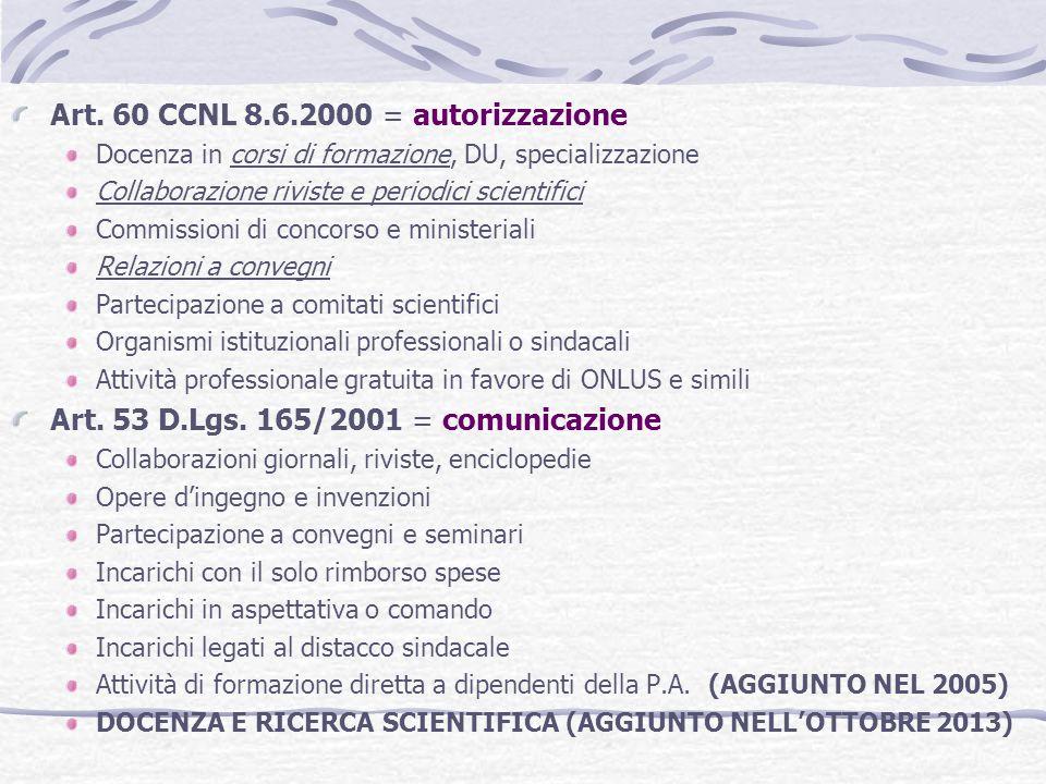 Art. 60 CCNL 8.6.2000 = autorizzazione Docenza in corsi di formazione, DU, specializzazione Collaborazione riviste e periodici scientifici Commissioni