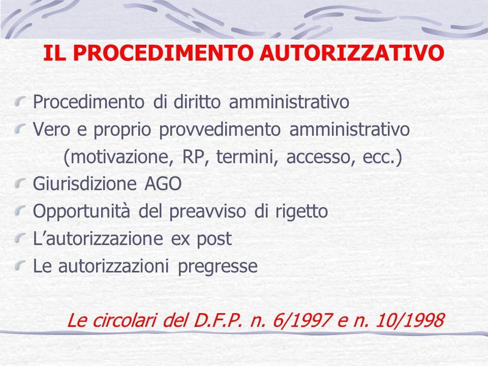 IL PROCEDIMENTO AUTORIZZATIVO Procedimento di diritto amministrativo Vero e proprio provvedimento amministrativo (motivazione, RP, termini, accesso, e