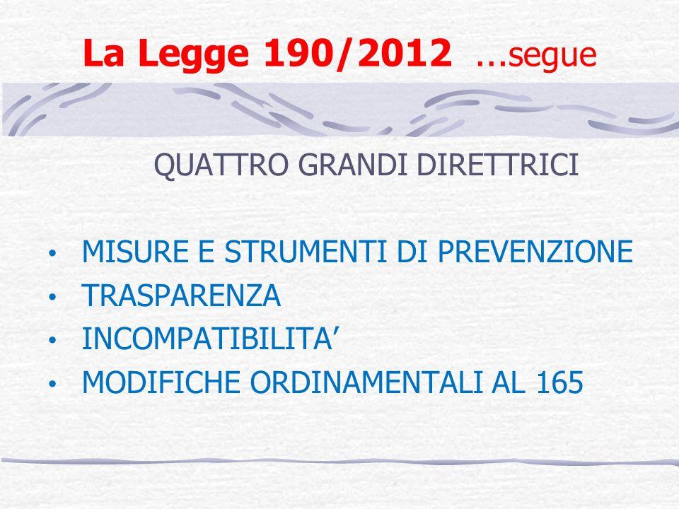 La Legge 190/2012 … segue Definizione di «corruzione» Amministrazioni destinatarie Le modifiche della Legge 221/2012 (art.