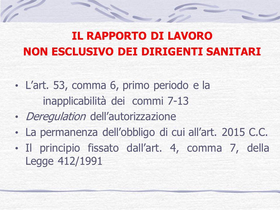 IL RAPPORTO DI LAVORO NON ESCLUSIVO DEI DIRIGENTI SANITARI Lart. 53, comma 6, primo periodo e la inapplicabilità dei commi 7-13 Deregulation dellautor