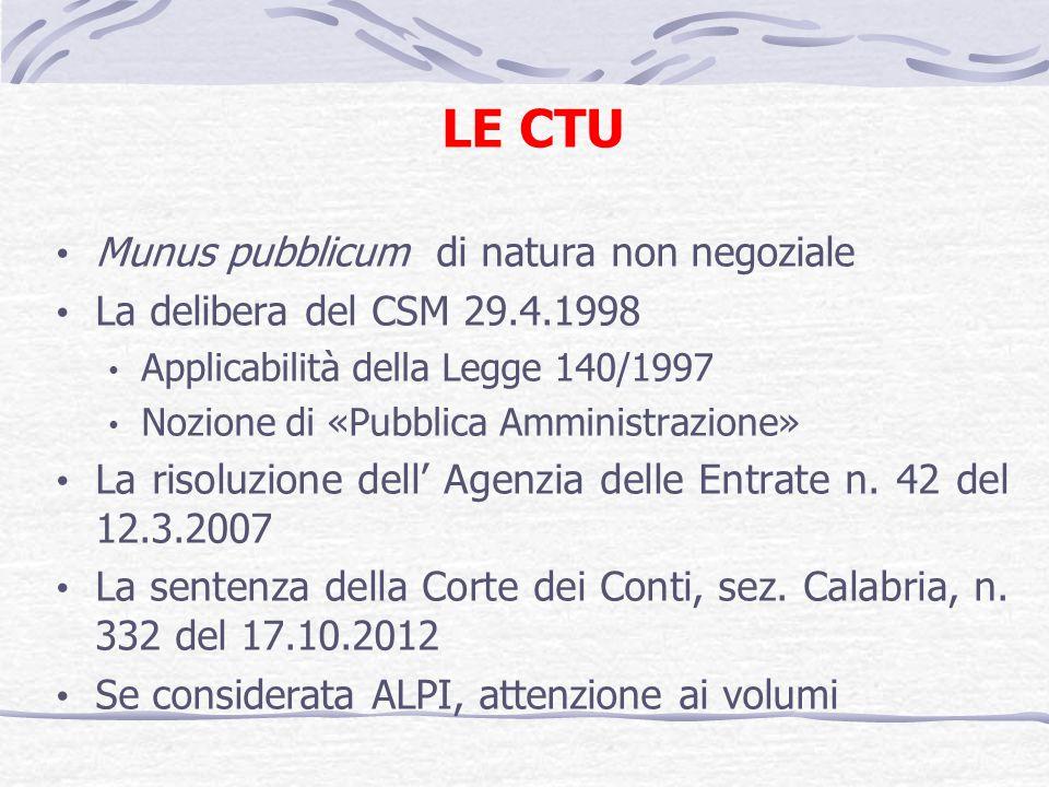 LE CTU Munus pubblicum di natura non negoziale La delibera del CSM 29.4.1998 Applicabilità della Legge 140/1997 Nozione di «Pubblica Amministrazione» La risoluzione dell Agenzia delle Entrate n.