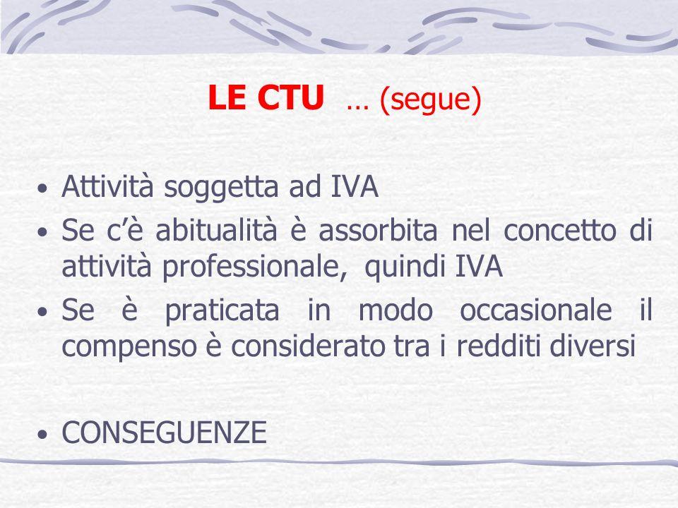LE CTU … (segue) Attività soggetta ad IVA Se cè abitualità è assorbita nel concetto di attività professionale, quindi IVA Se è praticata in modo occasionale il compenso è considerato tra i redditi diversi CONSEGUENZE