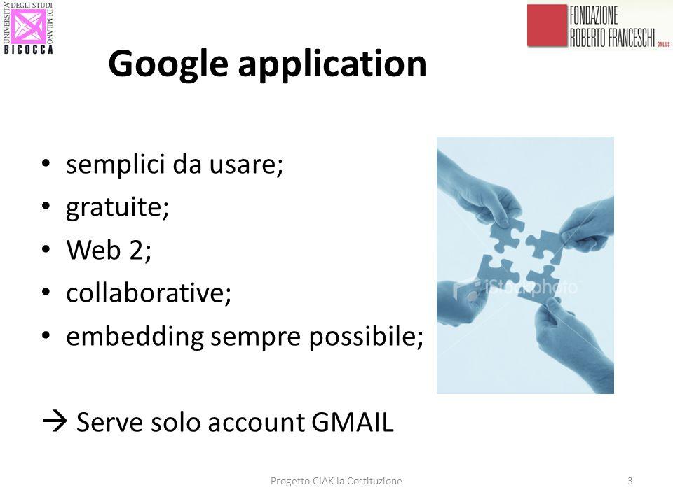 Google application Progetto CIAK la Costituzione3 semplici da usare; gratuite; Web 2; collaborative; embedding sempre possibile; Serve solo account GM