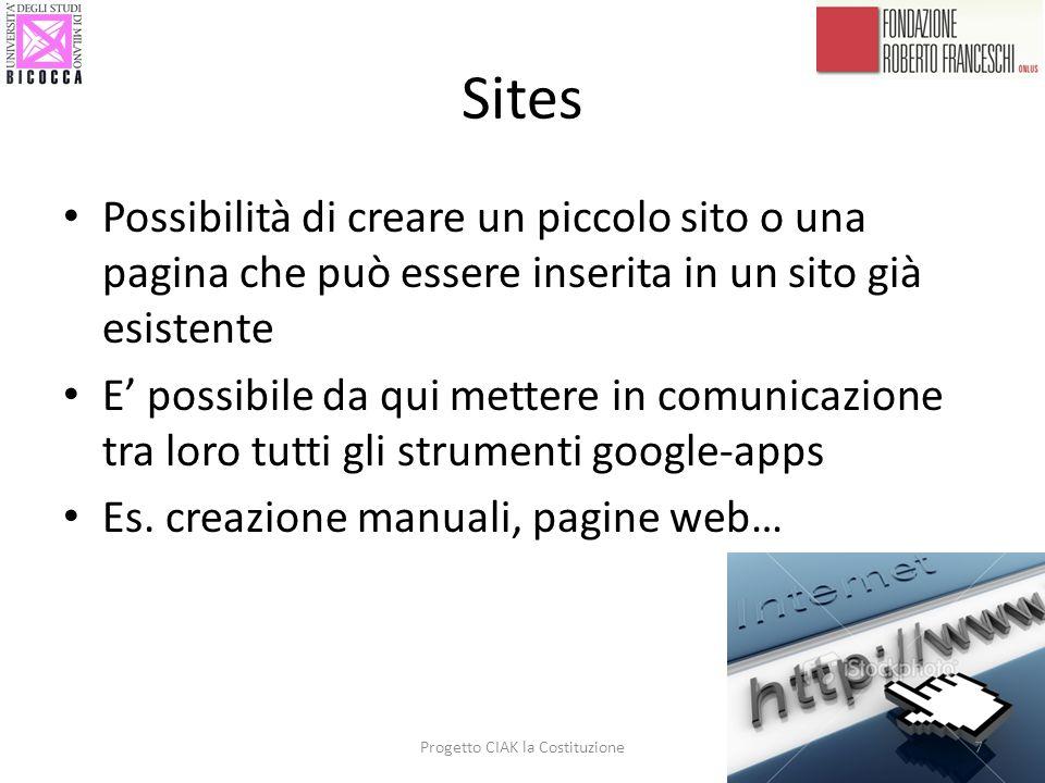 Sites Possibilità di creare un piccolo sito o una pagina che può essere inserita in un sito già esistente E possibile da qui mettere in comunicazione