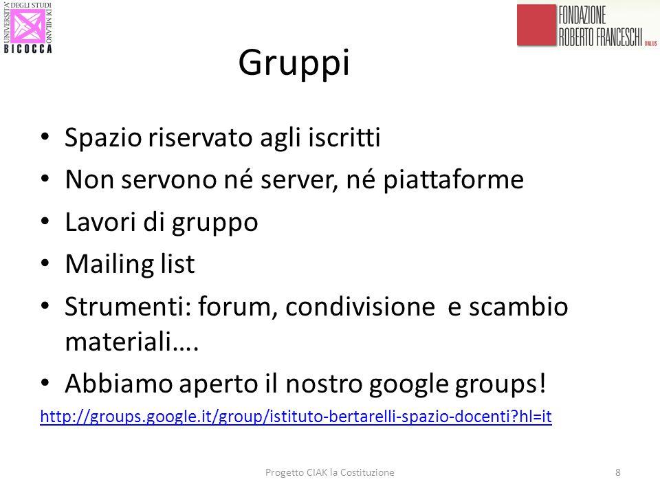 Gruppi Spazio riservato agli iscritti Non servono né server, né piattaforme Lavori di gruppo Mailing list Strumenti: forum, condivisione e scambio mat