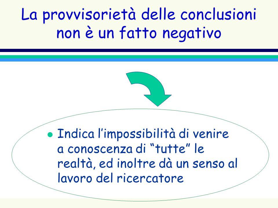 La provvisorietà delle conclusioni non è un fatto negativo l Indica limpossibilità di venire a conoscenza di tutte le realtà, ed inoltre dà un senso a