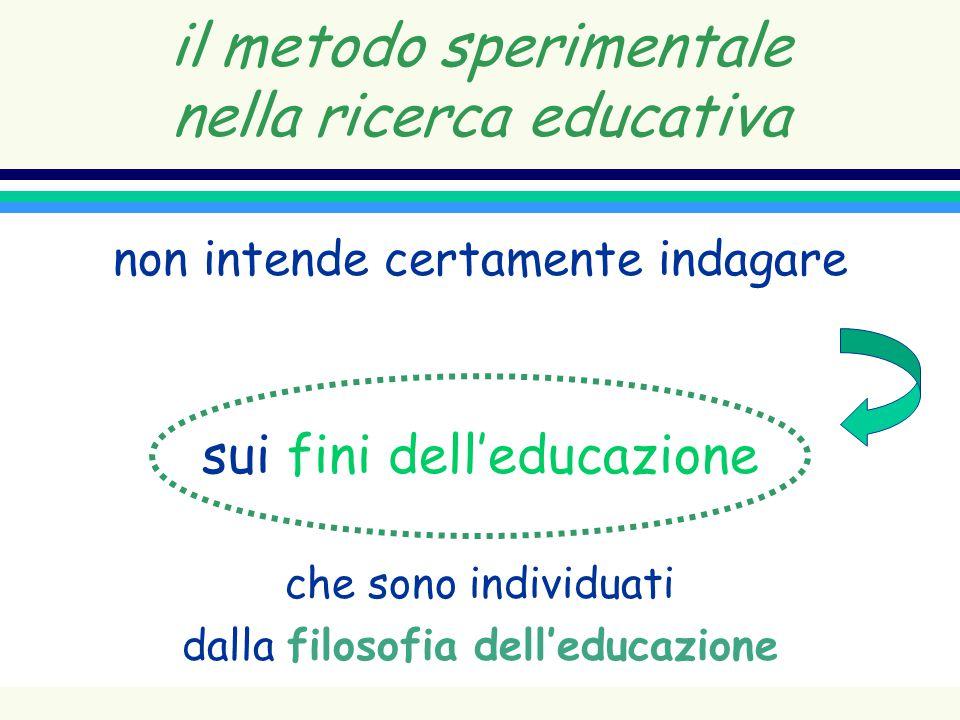 il metodo sperimentale nella ricerca educativa non intende certamente indagare sui fini delleducazione che sono individuati dalla filosofia delleducaz