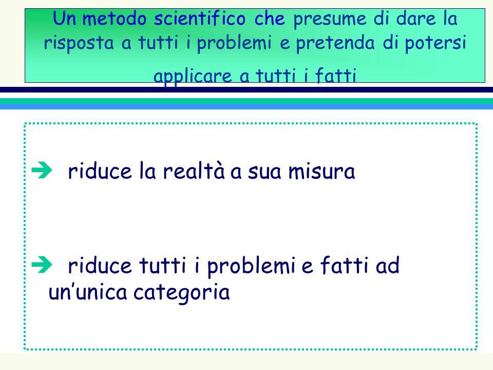 Un metodo scientifico che presume di dare la risposta a tutti i problemi e pretenda di potersi applicare a tutti i fatti è riduce la realtà a sua misu