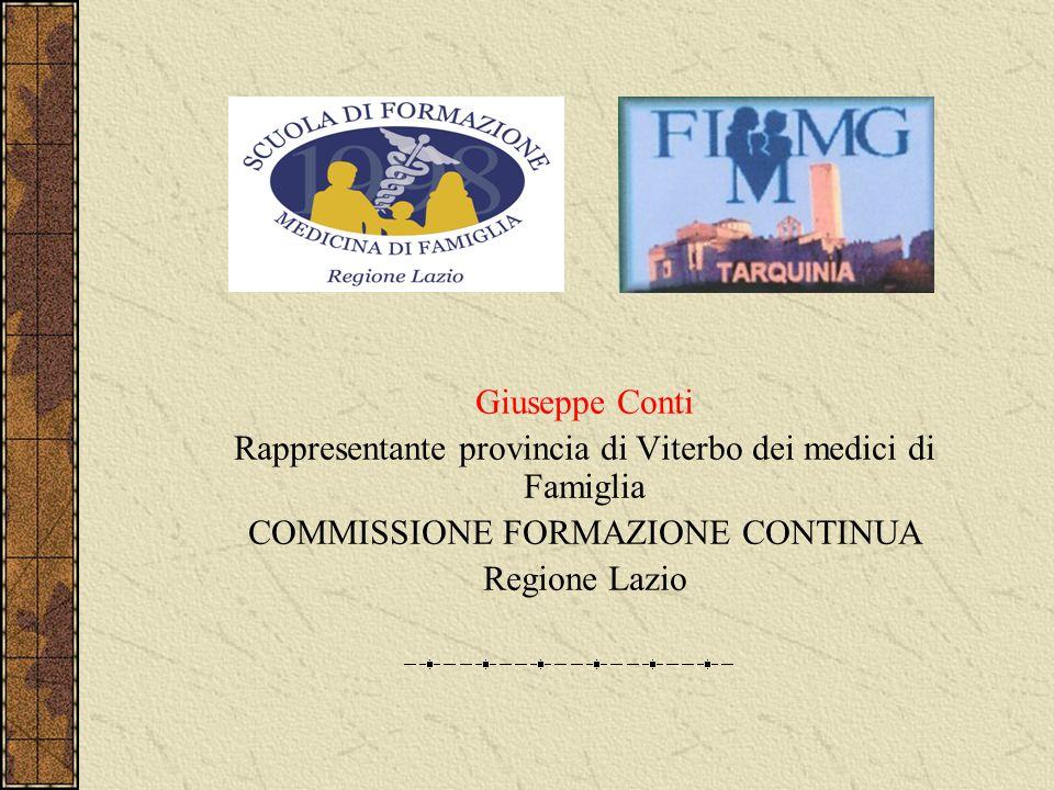 Giuseppe Conti Rappresentante provincia di Viterbo dei medici di Famiglia COMMISSIONE FORMAZIONE CONTINUA Regione Lazio