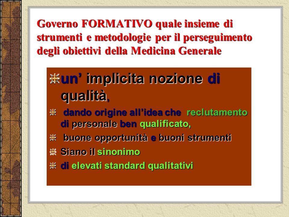 Governo FORMATIVO quale insieme di strumenti e metodologie per il perseguimento degli obiettivi della Medicina Generale un implicita nozione di qualit