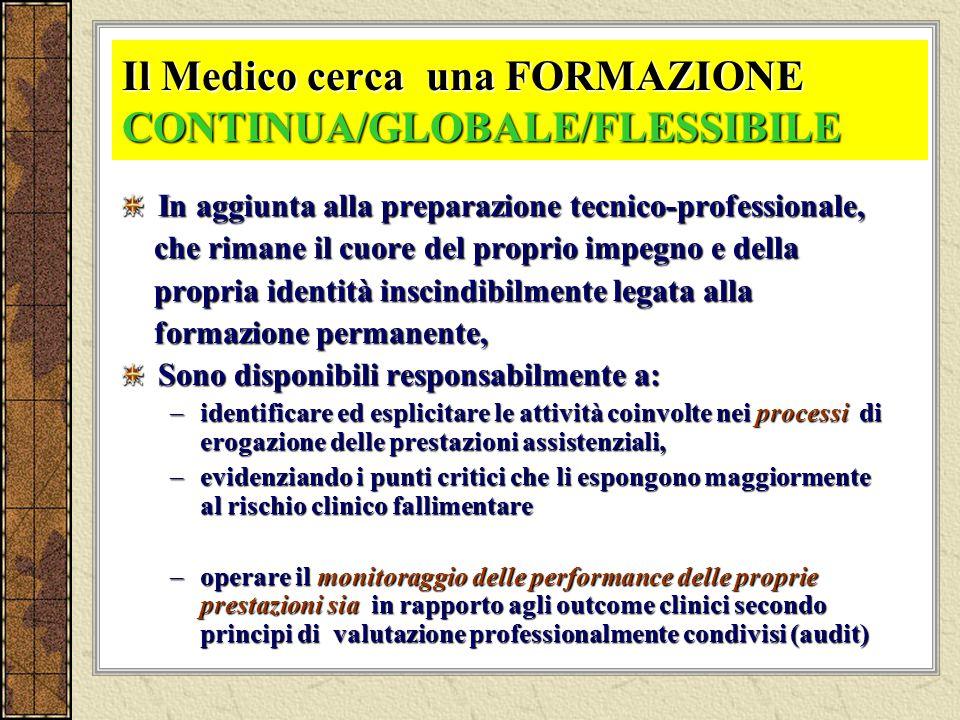 Il Medico cerca una FORMAZIONE CONTINUA/GLOBALE/FLESSIBILE In aggiunta alla preparazione tecnico-professionale, che rimane il cuore del proprio impegn