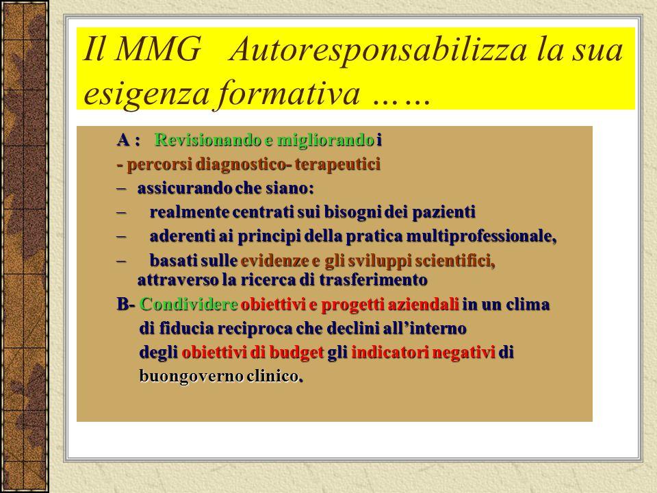Il MMG Autoresponsabilizza la sua esigenza formativa …… A : Revisionando e migliorando i - percorsi diagnostico- terapeutici –assicurando che siano: –