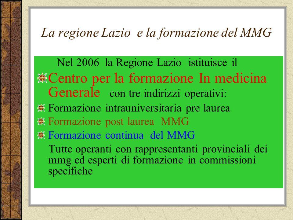 La regione Lazio e la formazione del MMG Nel 2006 la Regione Lazio istituisce il Centro per la formazione In medicina Generale con tre indirizzi opera