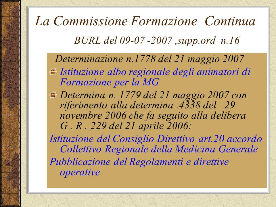 La Commissione Formazione Continua BURL del 09-07 -2007,supp.ord n.16 Determinazione n.1778 del 21 maggio 2007 Istituzione albo regionale degli animat