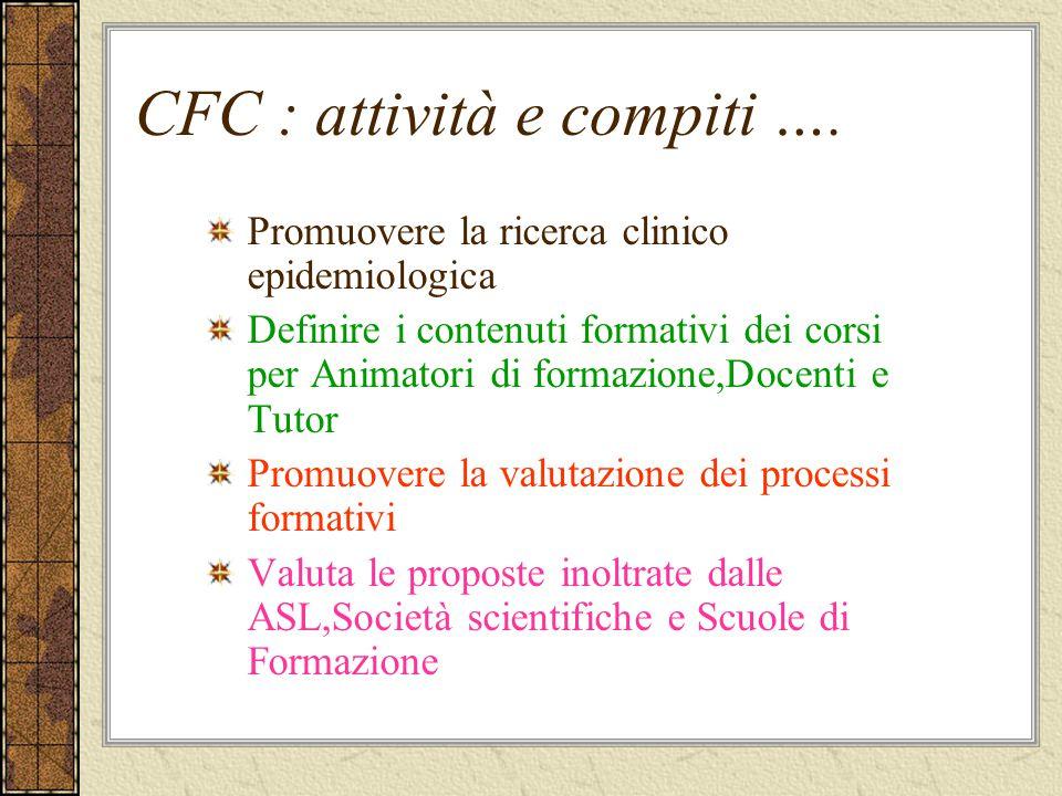 CFC : attività e compiti …. Promuovere la ricerca clinico epidemiologica Definire i contenuti formativi dei corsi per Animatori di formazione,Docenti