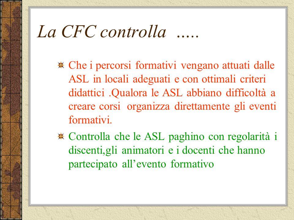 La CFC controlla ….. Che i percorsi formativi vengano attuati dalle ASL in locali adeguati e con ottimali criteri didattici.Qualora le ASL abbiano dif