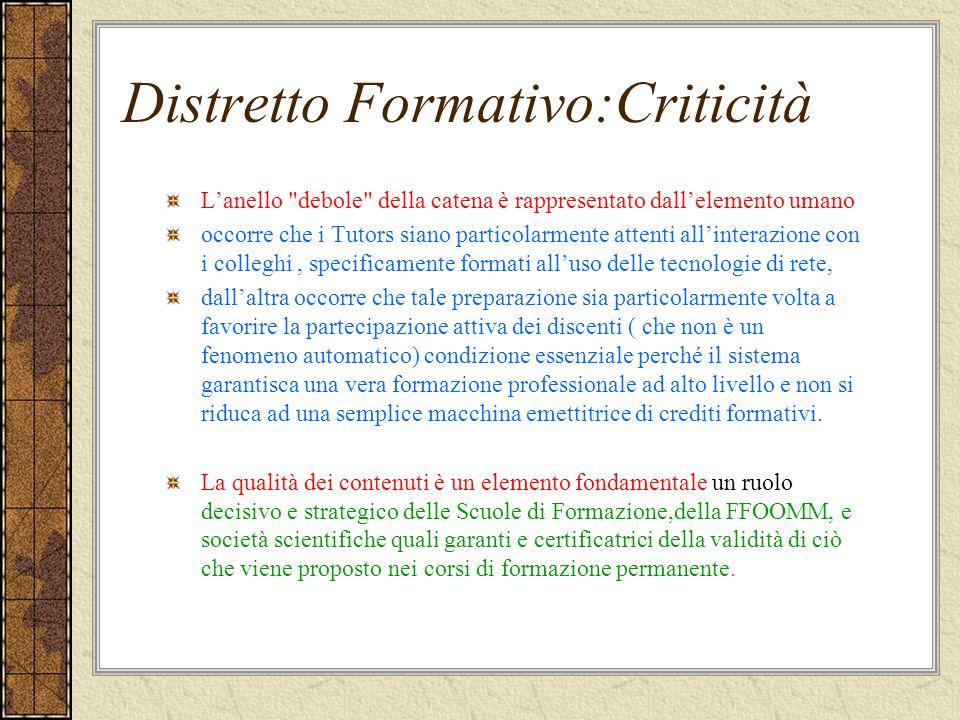 Distretto Formativo:Criticità Lanello