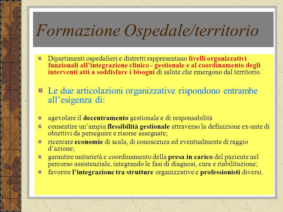 Formazione Ospedale/territorio Dipartimenti ospedalieri e distretti rappresentano livelli organizzativi funzionali allintegrazione clinico - gestional