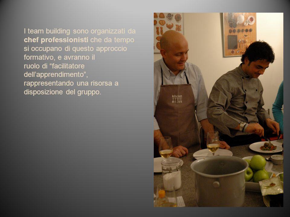 I team building sono organizzati da chef professionisti che da tempo si occupano di questo approccio formativo, e avranno il ruolo di facilitatore dellapprendimento, rappresentando una risorsa a disposizione del gruppo.