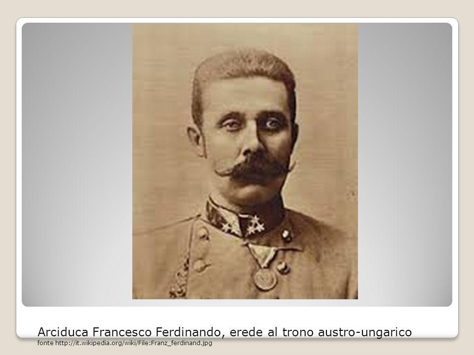 Arciduca Francesco Ferdinando, erede al trono austro-ungarico fonte http://it.wikipedia.org/wiki/File:Franz_ferdinand.jpg