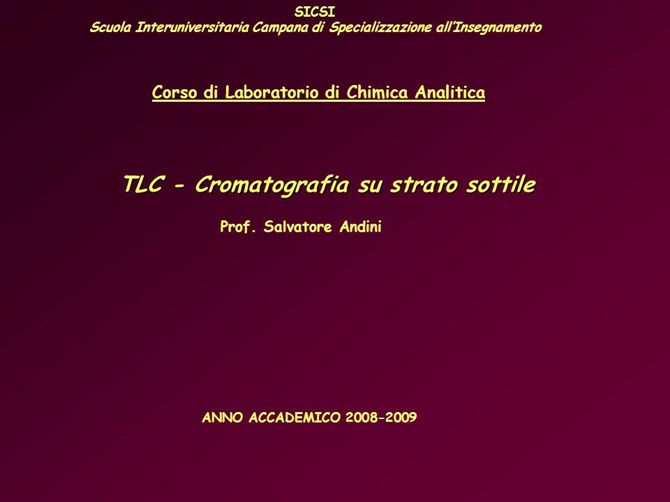 SICSI Scuola Interuniversitaria Campana di Specializzazione allInsegnamento Corso di Laboratorio di Chimica Analitica TLC - Cromatografia su strato sottile Prof.