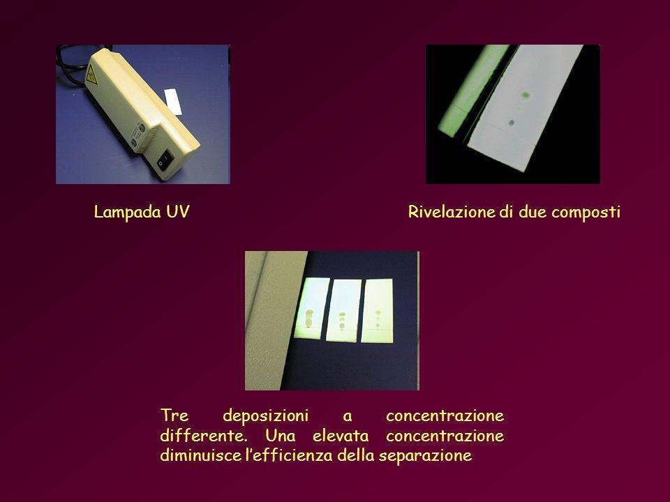 Lampada UVRivelazione di due composti Tre deposizioni a concentrazione differente.
