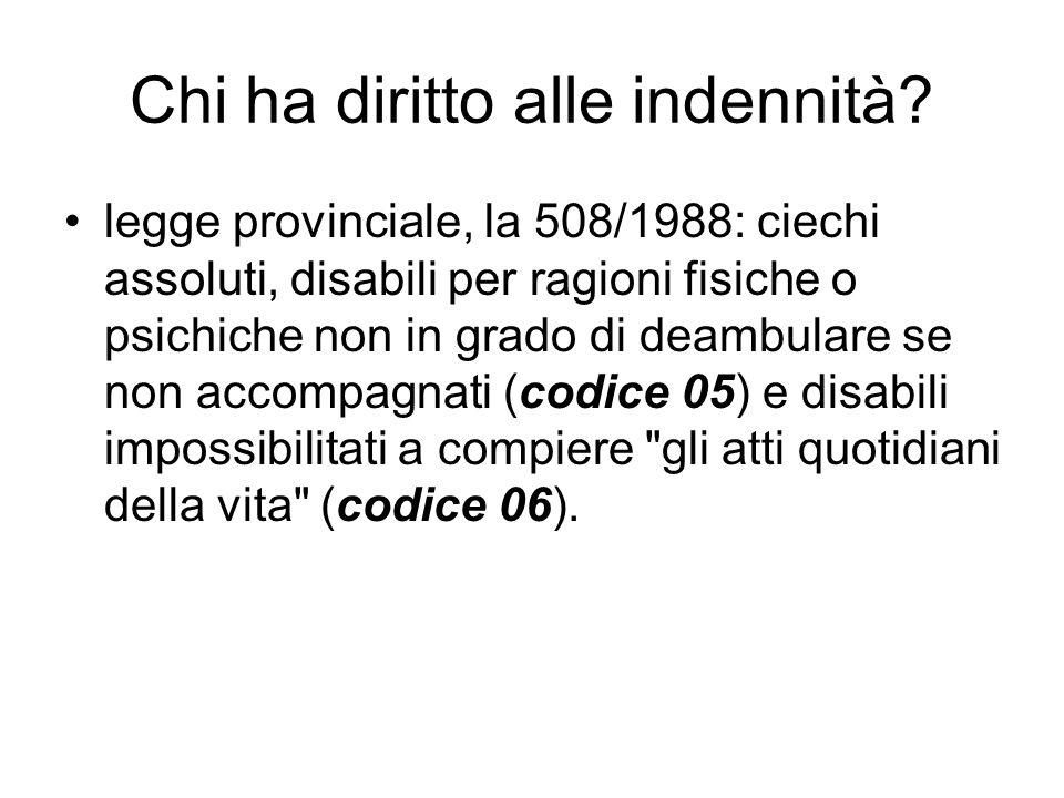 Chi ha diritto alle indennità? legge provinciale, la 508/1988: ciechi assoluti, disabili per ragioni fisiche o psichiche non in grado di deambulare se
