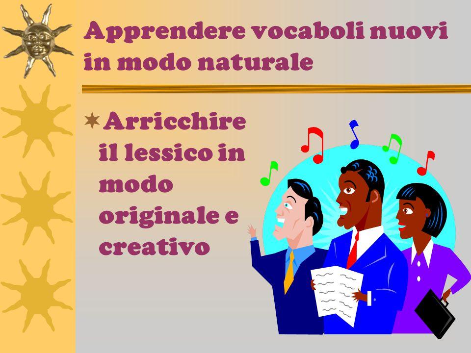 Apprendere vocaboli nuovi in modo naturale Arricchire il lessico in modo originale e creativo
