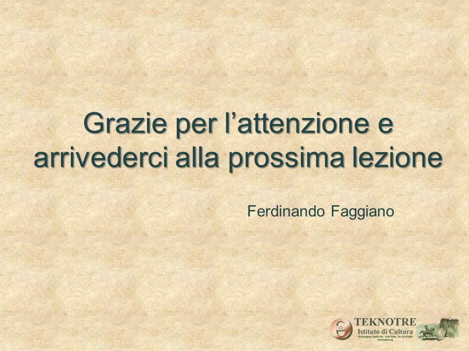 Grazie per lattenzione e arrivederci alla prossima lezione Ferdinando Faggiano