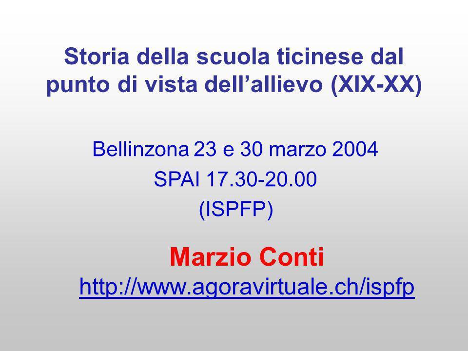 Storia della scuola ticinese dal punto di vista dellallievo (XIX-XX) Marzio Conti http://www.agoravirtuale.ch/ispfp Bellinzona 23 e 30 marzo 2004 SPAI