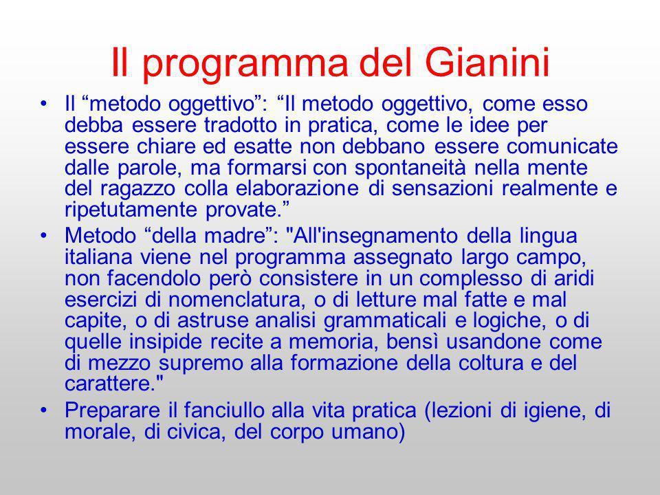 Il programma del Gianini Il metodo oggettivo: Il metodo oggettivo, come esso debba essere tradotto in pratica, come le idee per essere chiare ed esatt