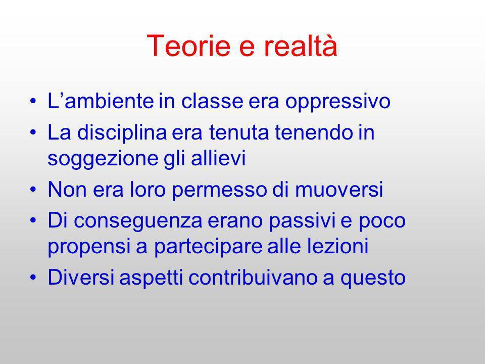 Teorie e realtà Lambiente in classe era oppressivo La disciplina era tenuta tenendo in soggezione gli allievi Non era loro permesso di muoversi Di con