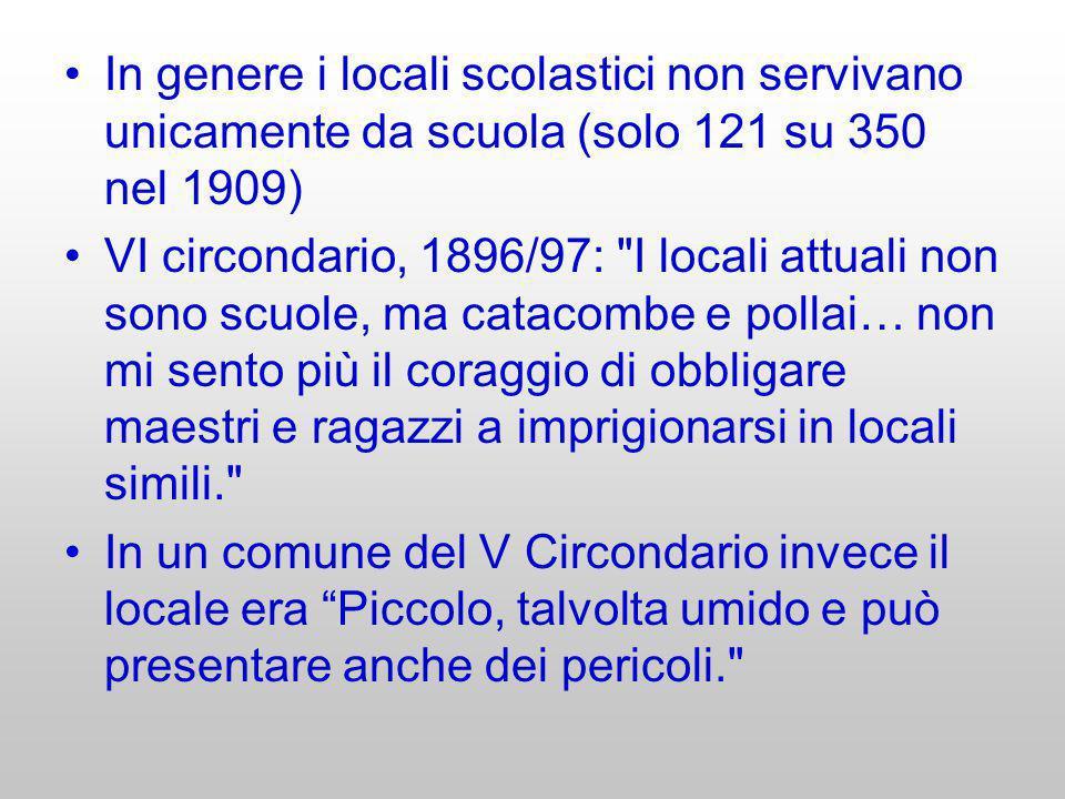 In genere i locali scolastici non servivano unicamente da scuola (solo 121 su 350 nel 1909) VI circondario, 1896/97: