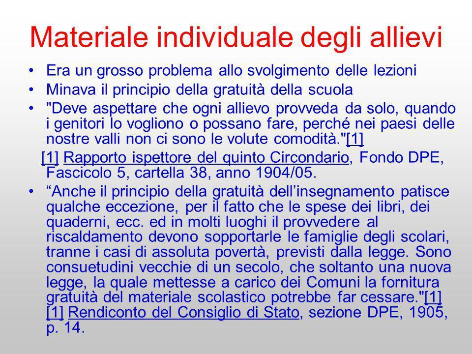 Materiale individuale degli allievi Era un grosso problema allo svolgimento delle lezioni Minava il principio della gratuità della scuola